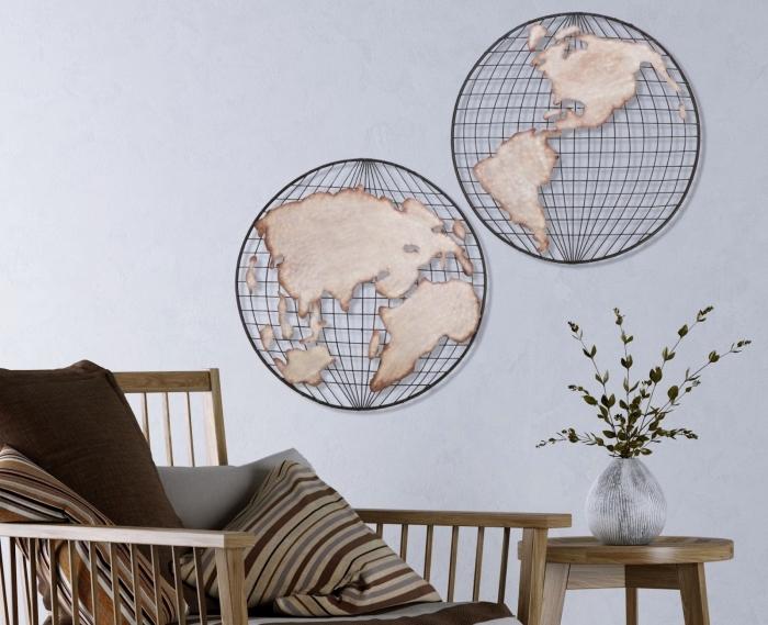 Mappemonde Deco Murale ▷ 1001 + idées pour une décoration murale en fer design métal