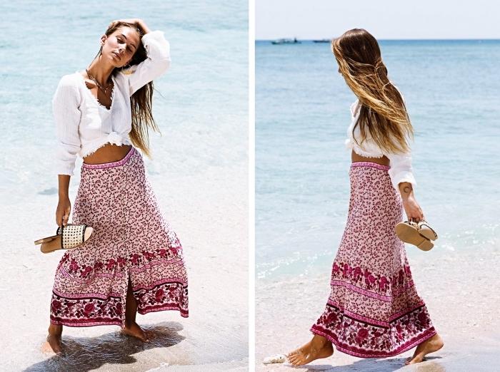 blouse blanche enroulée avec jupe taille haute longue de couler rose pastel à motifs floraux rouges pour vetement style boheme
