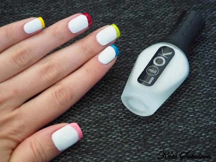 idée comment réaliser une french manucure originale avec base blanche et bouts multicolore, nail art tendance
