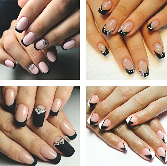 exemple de nail art à design français en noir, manucure ongles mi-longs de base rose pastel avec bouts noirs et déco à effet demi-lune en cristaux