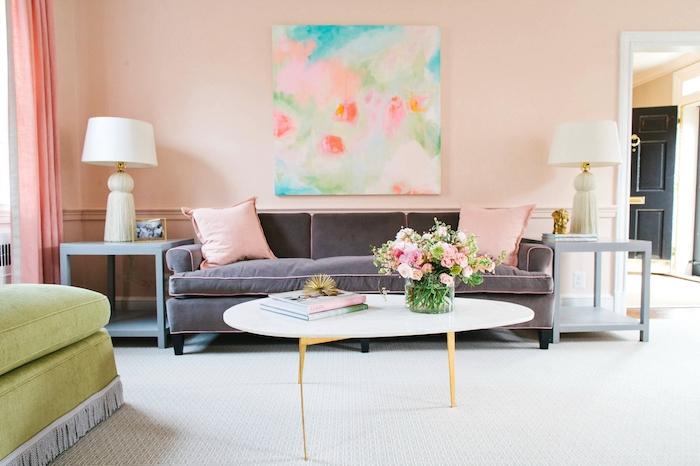 Quelle couleur associer au rose poudre salon gris et rose decoration stylée rose pale