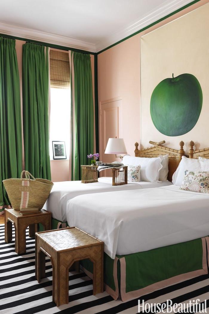 Décoration peinture salon couleur idéale pour chambre adulte aménagement simple vert blanc et rose pale