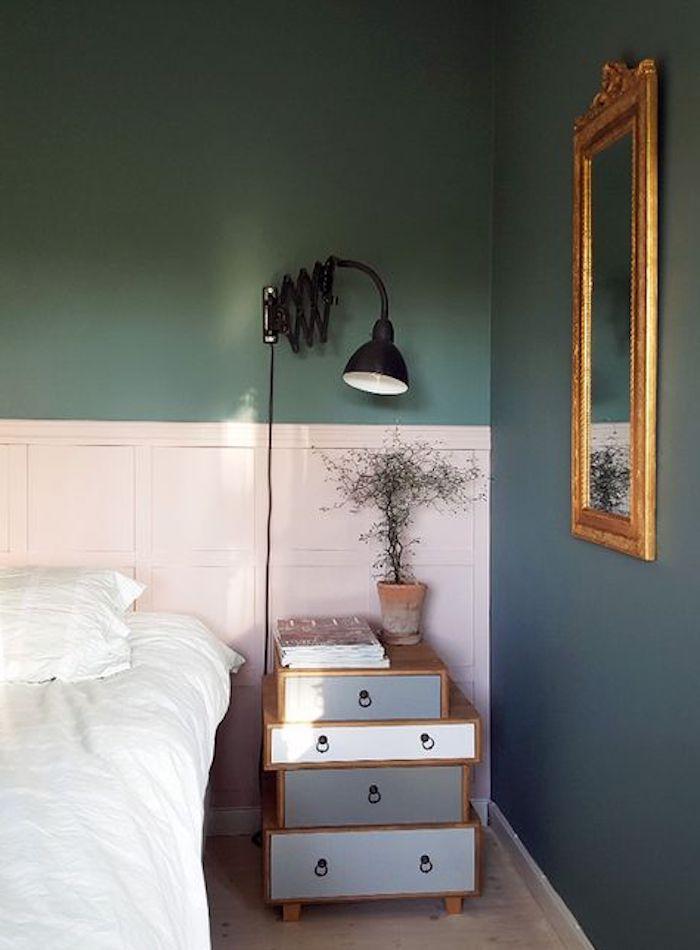 Couleur mur chambre couleur idéale pour chambre adulte idée déco chambre moderne vert et blanc