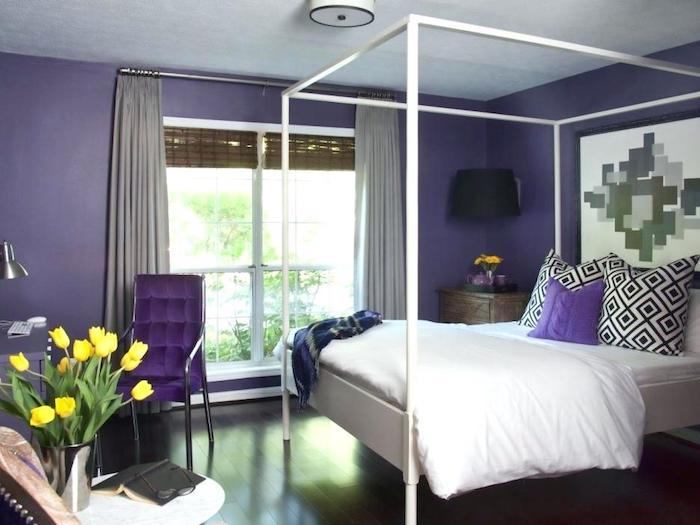 Couleur de peinture pour chambre couleur idéale pour chambre adulte design nordique violet et blanc