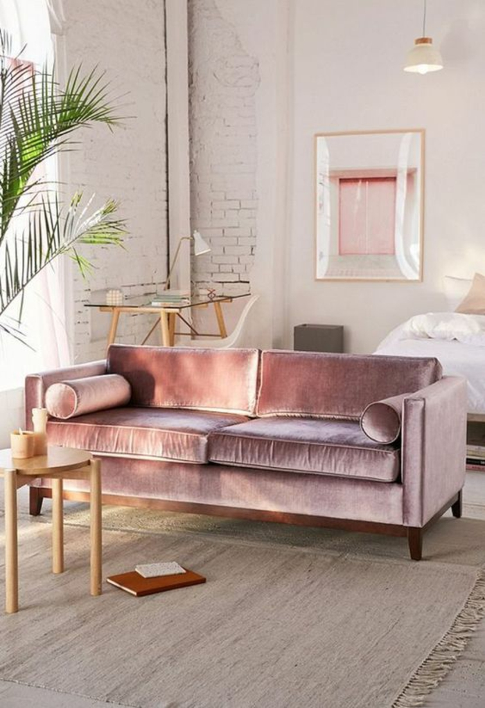 grand tapis beige, murs blancs, coin en briques blanches, chambre rose et gris, grande palme verte, tableau au cadre doré