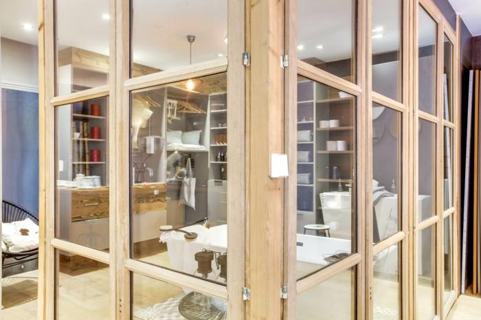 separation verriere, cloison verriere, verriere douche, verriere salle de bain en bois clair, étagères en bois clair