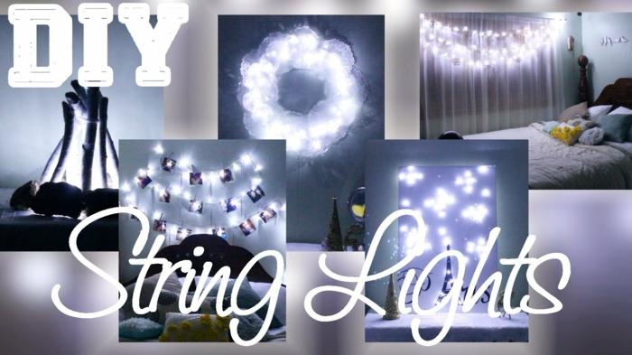 collage avec cinq looks de chambres décorées avec une guirlande lumineuse pour chambre, des guirlandes a faire soi-meme