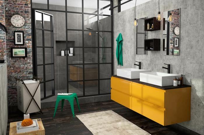 porte coulissante verriere, meuble suspendu en jaune, verriere salle de bain, carrelage mural en gris pastel, deux lavabos blancs rectangulaires