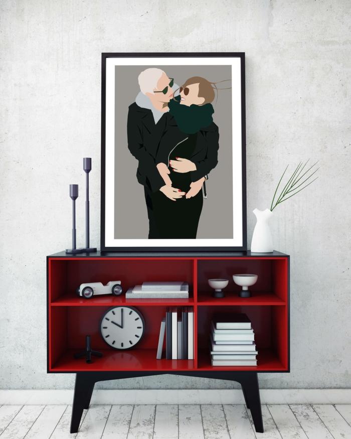 meuble d'entrée en rouge et noir en style Stendhal, grand tableau avec couple qui s'embrasse au cadre noir, deux chandeliers, vase blanc, parquet peint en blanc pour effet de vieilli, meuble relooké