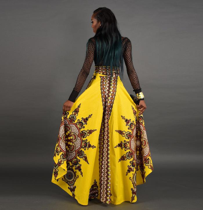 élégante jupe longue de soirée jaune avec imprimé wax détaillé et corset par nanabubu