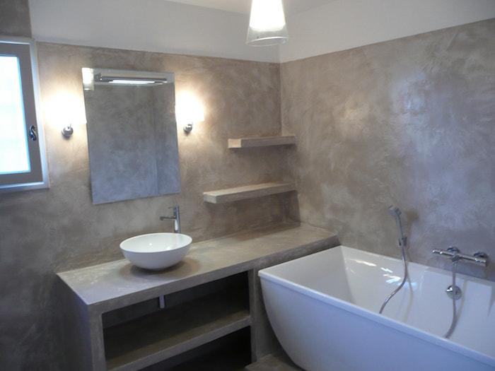 Salle de bain en b ton cir brut de paume - Meuble en beton cire ...
