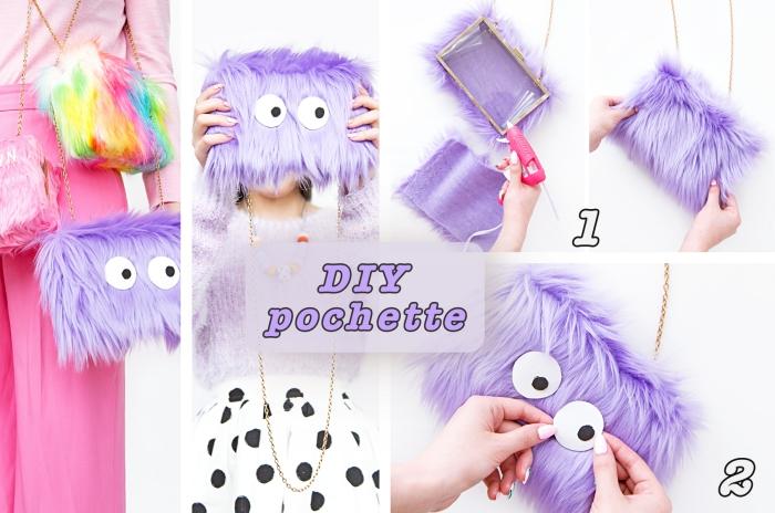 activité manuelle ado, modèle de pochette DIY en faux fur violet pastel, fabriquer un accessoire original facile
