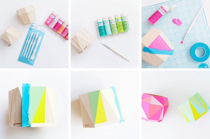 tutoriel pour réaliser un accessoire de bureau DIY facile avec une boîte de bois et peintures acryliques de couleurs variées