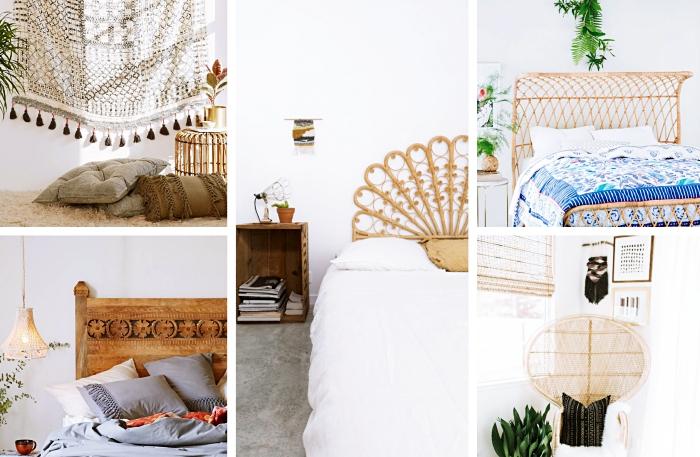 idée quels accessoires et objets utiliser pour aménager une chambre boheme chic, modèle de tête de lit en bambou