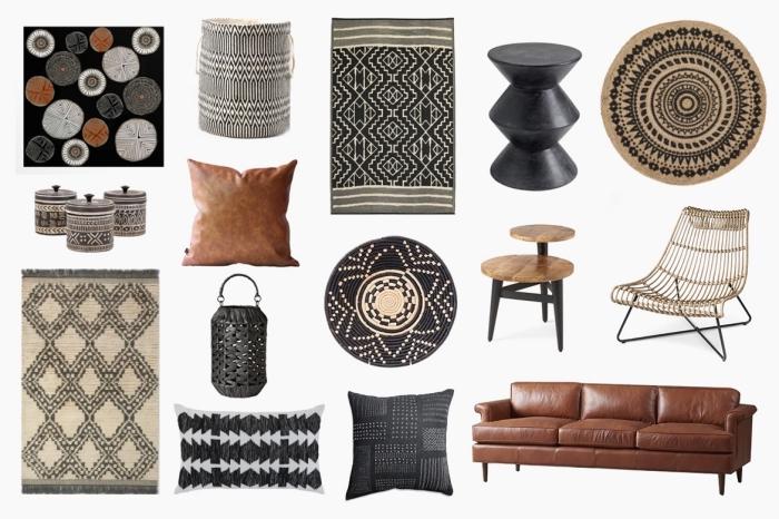 exemple quels objets et accessoires choisir pour un décor de style ethnique, aménager un salon moderne avec objets traditionnels
