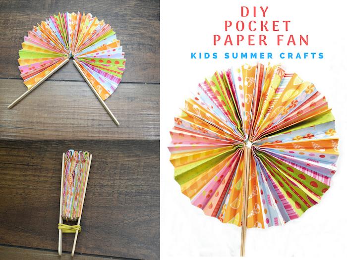 modèle d eventail papier coloré à motifs divers facile a fabriquer, exemple de cadeau fete des meres a faire soi meme