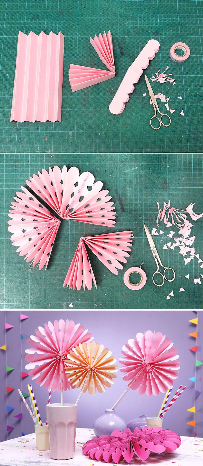 tutoriel pour fabriquer un éventail comme decoration table anniversaire, eventail en papier perforé imitation fleurs