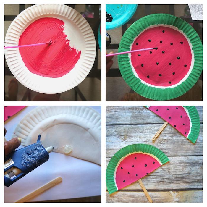 idée d activité manuelle maternelle, bricolage enfant avec assiette en papier décorée de motif pasteque en peinture