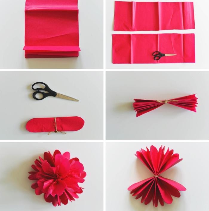 tutoriel pour apprendre comment réaliser une fleurs en papier crépon, modèle de fleur DIY fabriquée en papier rouge