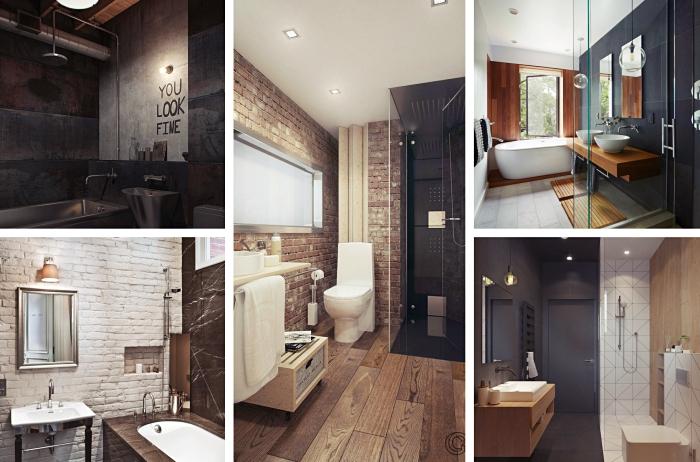 meuble petite salle de bain fonctionnel pour rangement accessoires de toilettes, idée niche murale avec revêtement en briques blanches