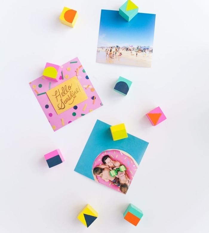 activité manuelle facile et rapide, comment faire des aimants originaux et colorés, petits aimants DIY à design cube coloré