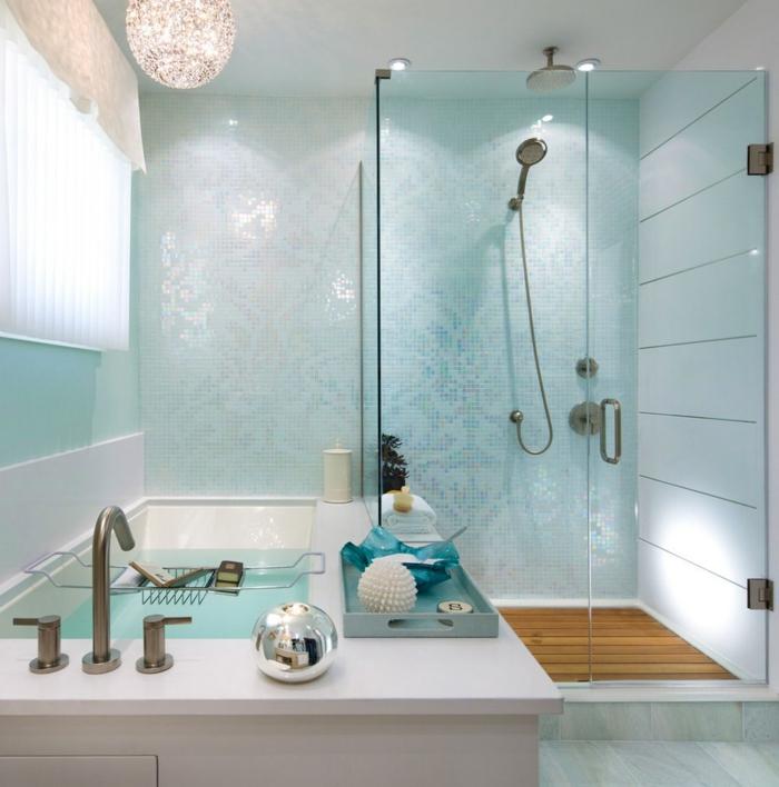 verriere douche, cloison verriere, salle de bain avec verrière, baignoire blanche aux angles droits, luminaire brillant