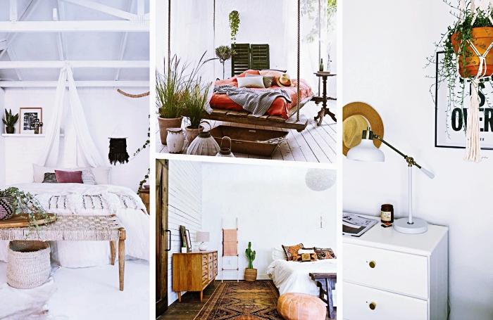 modèles de deco chambre adulte avec grand lit et plafond haut, modèle de lit suspendu en bois couvert de coussins décoratifs