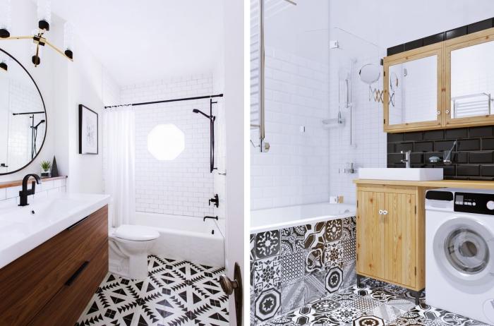 astuce comment aménager une salle de bain 5m2, déco de pièce blanche au plancher en carrelage blanc et noir avec meubles de bois clair ou foncé