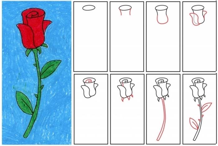 tutoriel pour réaliser un dessin de fleur facile, loisir créatif pour enfants, apprendre comment dessiner une rose fermée