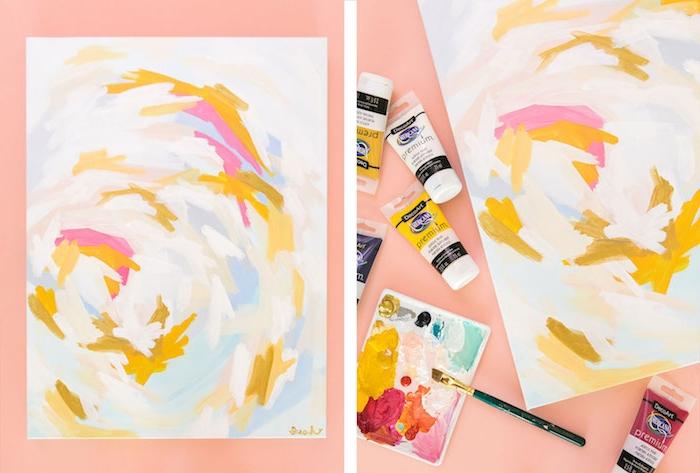 art décoratif, panneau toile décorée de touche de peinture art abstrait pour decoration murale, cadeau 20 ans ioubliable