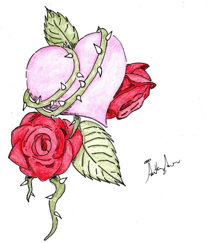 modèle de dessin en couleur avec coeur rose et roses rouges aux feuilles vertes, exemple de dessin facile à faire, dessin rose facile