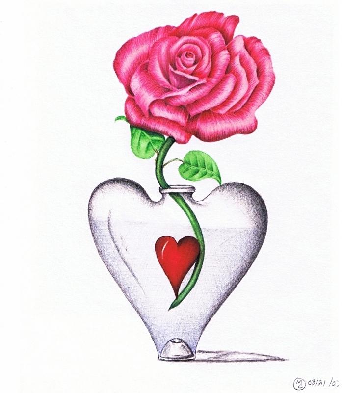 idée pour une fleur a dessiner, exemple de dessin original avec une vase en forme de coeur et rose en couleurs