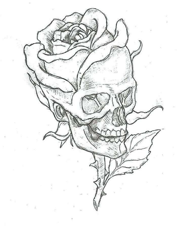 dessin fleur noir et blanc, modèle de dessin de fleur rose avec crâne et feuilles, idée comment faire un dessin en blanc et noir