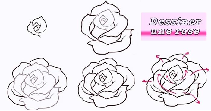 réaliser un dessin fleur noir et blanc au crayon, tutoriel avec étapes pour apprendre à faire un dessin de rose ouverte