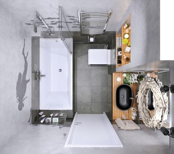 modele carrelage salle de bain de couleur gris foncé combiné avec une baignoire et une cuvette suspendue blanches