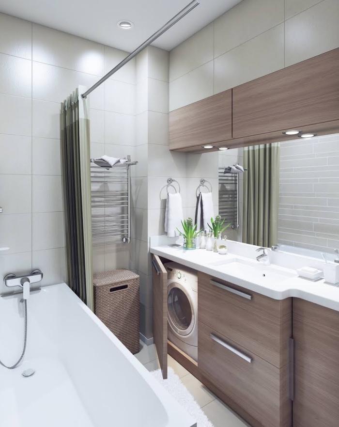 exemple salle de bain tendance aménagée en couleurs neutres avec plafond et murs blancs et meubles rangement en bois avec éclairage led