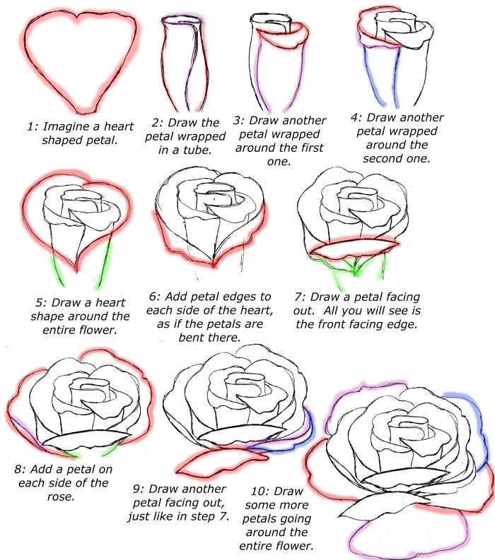 exemple de fleur dessin dessin facile à faire, tutoriel pour apprendre à faire une rose ouverte en blanc et noir