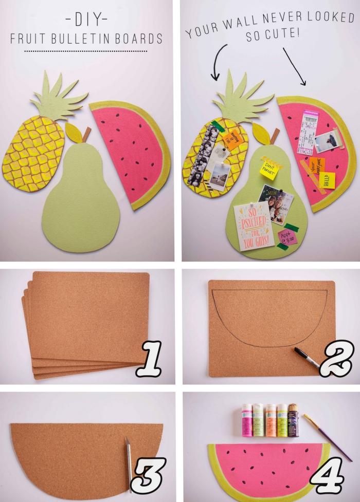 modèle de babillards colorés à design fruits ananas et pastèque réalisé avec carton et papier coloré, activité manuelle ado facile