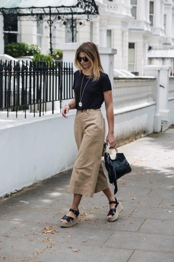 idée comment bien s'habiller pour l'été en pantalon au-dessus de cheville de couleur beige kaki avec t-shirt noir