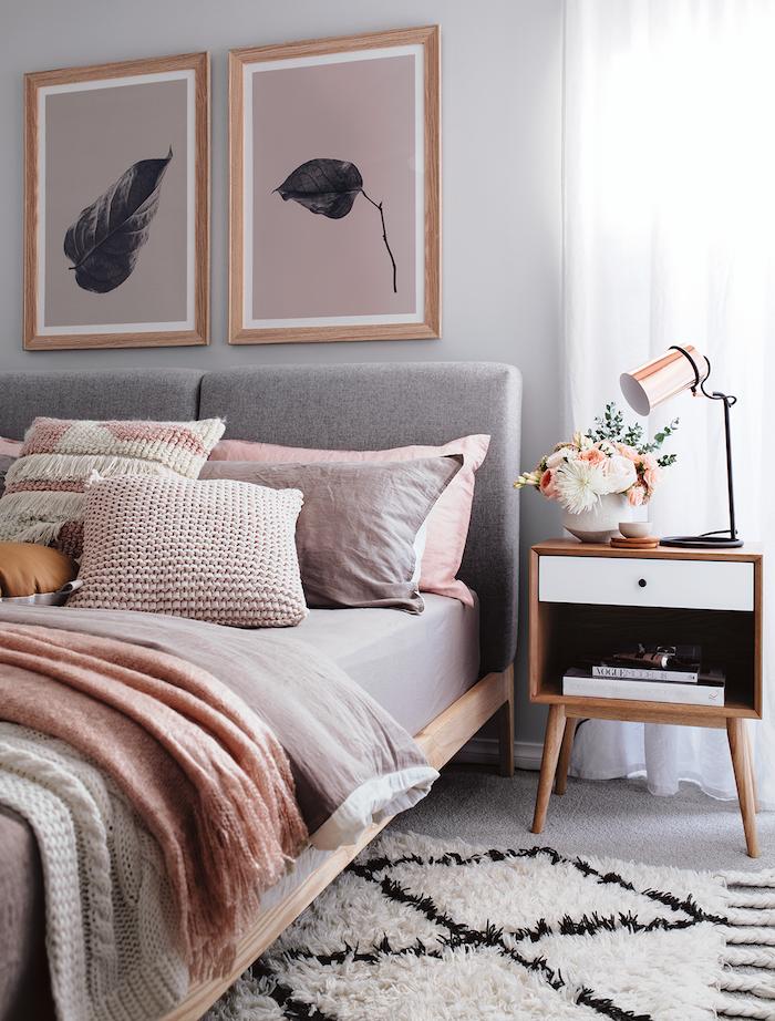 Chouette idee deco chambre adulte rose et gris, amenagement petite chambre tendance 2018 dans la déco