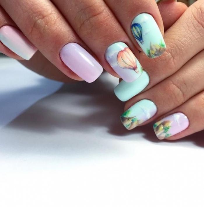 Deco ongle gel coloré style ombre ciel, ballon en air chaut dessin sur ongle, modèle ongle en gel couleur été 2018, design moderne estival et féminine