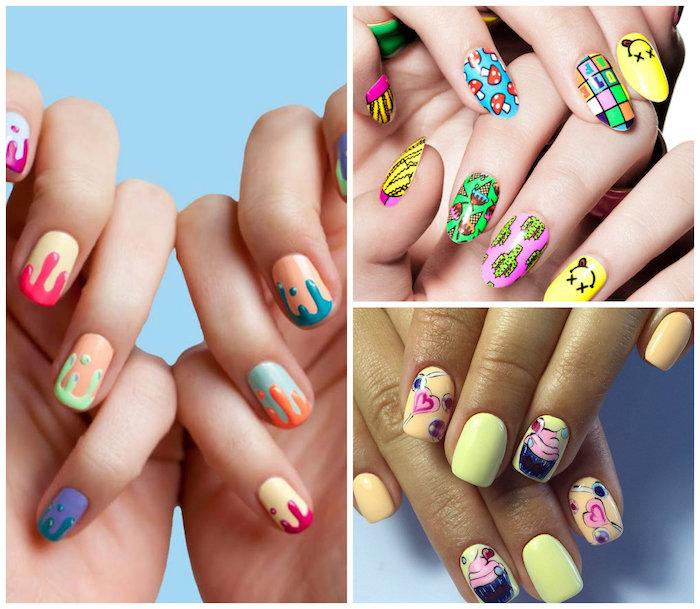 Idee ongle avec vernis gel, modèle ongle en gel, modele ongle nail art image beauté, options originales, glace et cuocakes