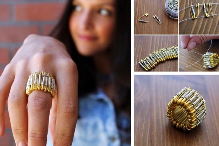 exemple comment réaliser un bijou original avec des épingles de sécurité, modèle de bague DIY en perles et épingles de sécurité