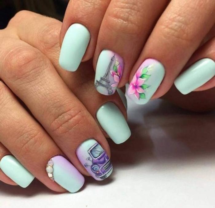 Modele d ongle en gel, deco ongle gel, photo ongle en gel original, cool idée pour manucure avec dessin de la tour eiffel, une voiture et des fleurs mignonnes