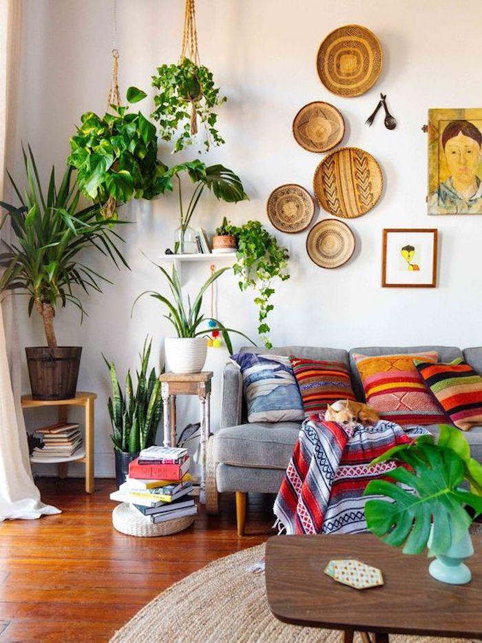 Amenagement salon salle à manger 30m2 déco salon cocooning style vintage bohème chic cool idée salon vert plantes