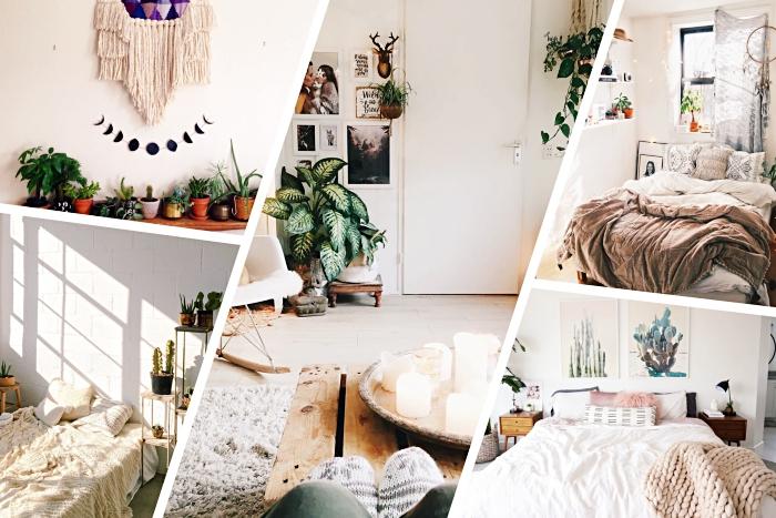 comment aménager une chambre à coucher aux murs blancs et meubles de bois avec plantes vertes et tapis boheme