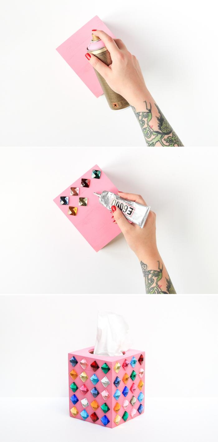 étapes à suivre pour décorer une boîte à mouchoirs de bois avec une couche de peinture rose et strass colorés