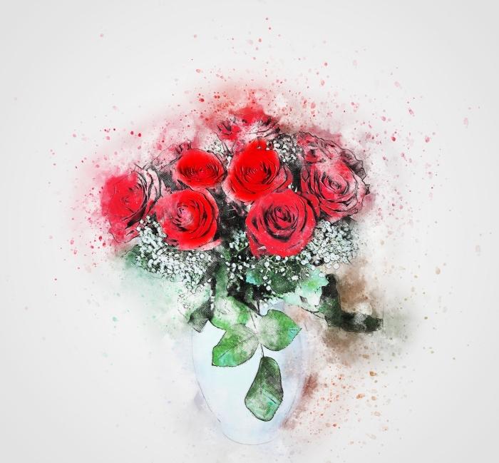 joli dessin en couleurs avec un vase bleu pastel et bouquet de fleurs rouges aux feuilles vertes, modèle de dessin de fleur