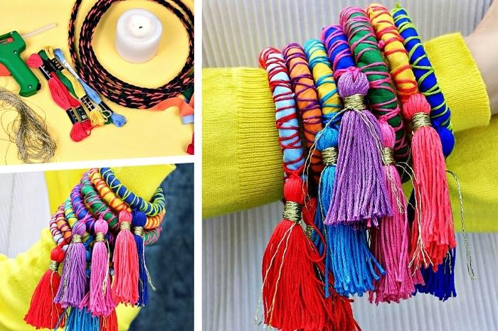 exemple de bijoux fait maison à design ethnique et coloré, modèle de bracelet coloré en fil avec déco tassels
