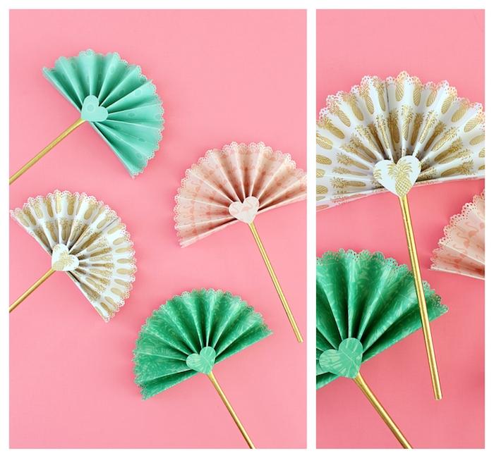 modèle d eventail chinois simple en papier plié en accordéon, paille or, coeur de ppaier à motifs exotiques